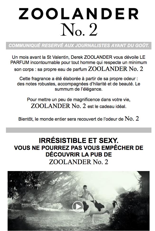 mailing journalistes zoolander